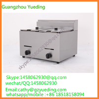 Table Counter Top Stainless Steel double Tank LPG Gas Deep Fryer Stainless Steel Gas Potato Deep Fryer with Basket