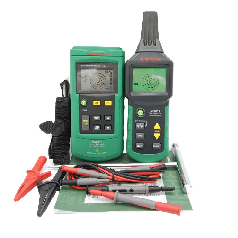 Mastech MS6818 Portable Wire Cable Tracker Metal Pipe Locator Detector Tester Line Tracker Voltage12~400V CABLE LOCATOR RECEIVER mastech ms6818 portable instruments professional cable locator wire tracker pipelines detector tester ac dc voltage 12 400v