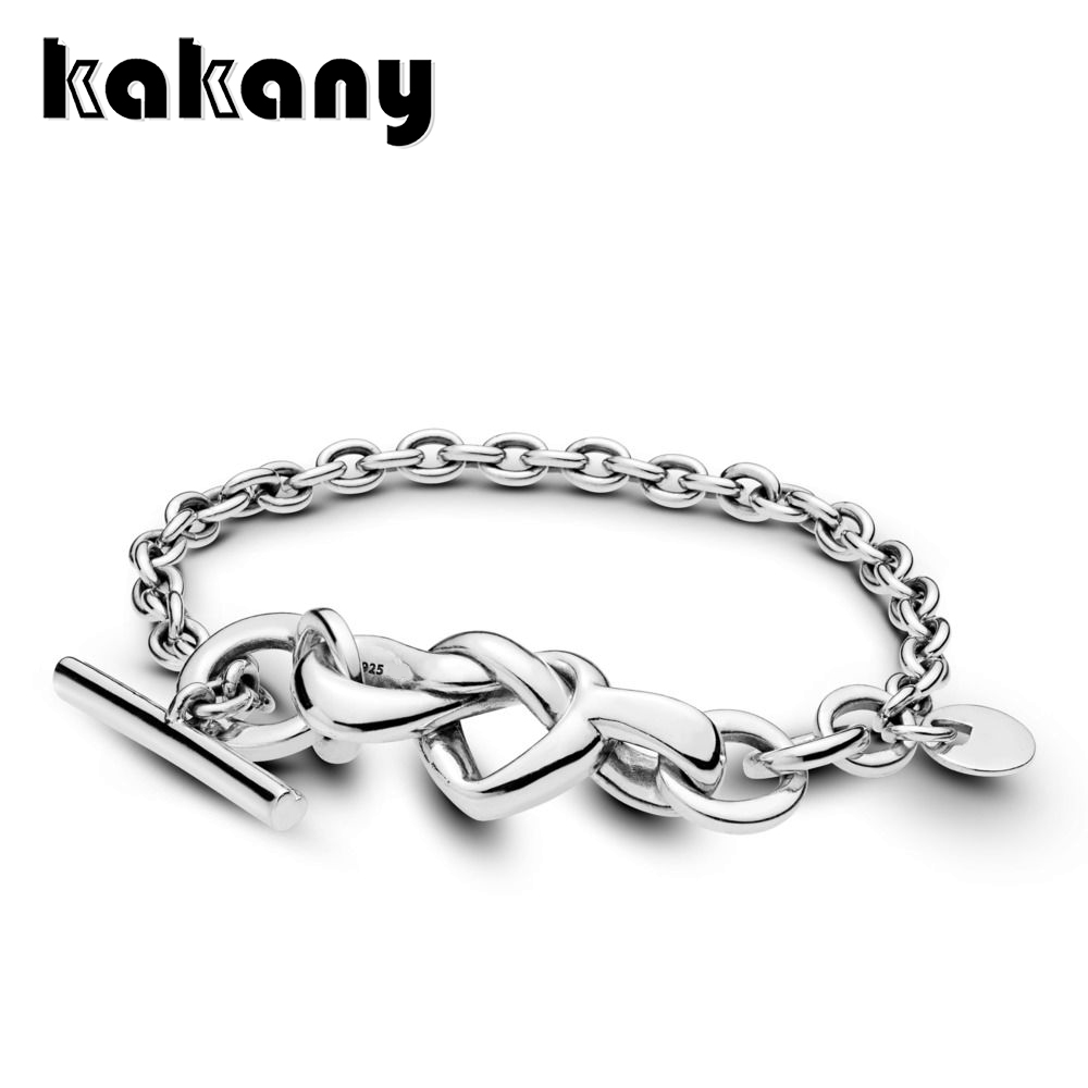 Kakany 2019 Mothers Day New 925 Sterling Silver Knotted Heart Bracelet Original High Quality 1:1 Womens Fashion JewelryKakany 2019 Mothers Day New 925 Sterling Silver Knotted Heart Bracelet Original High Quality 1:1 Womens Fashion Jewelry