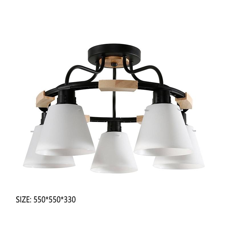 HTB1BffDR3HqK1RjSZFgq6y7JXXan Nordic LED Light Wooden Chandelier Lights E27 With PVC Lampshade For Living Room Lighting Fixtures 220V 110V Light