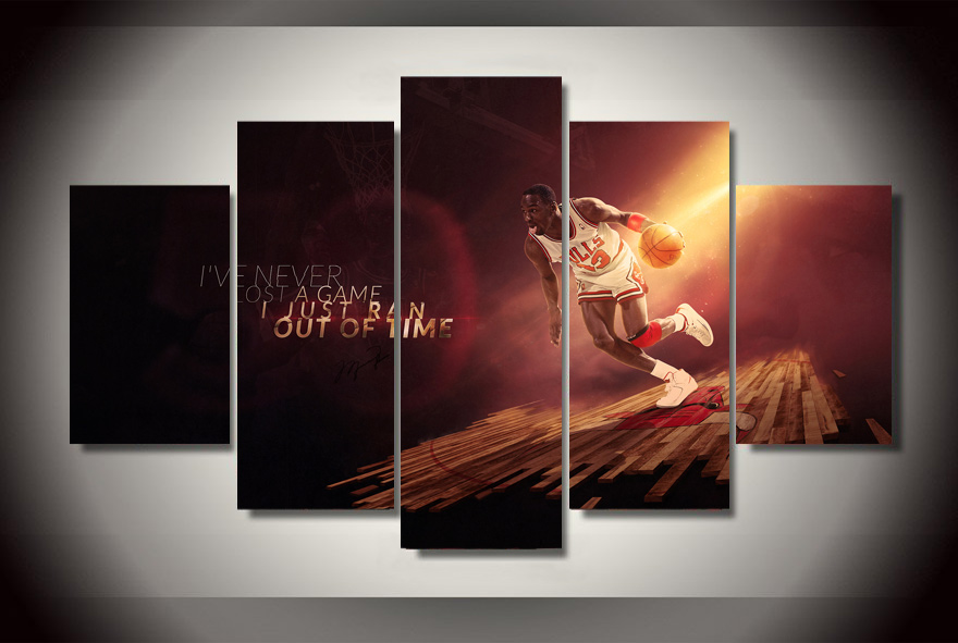 5 Pcs No Framed Printed Bull michael jordan Painting on canvas room ...