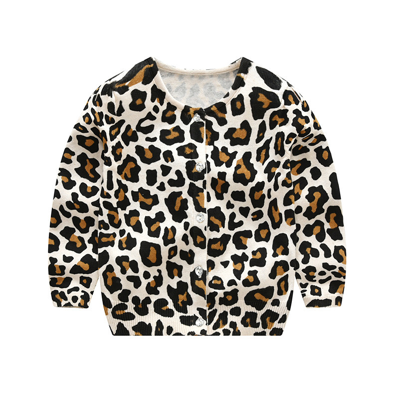 купить LILIGIRL Baby Leopard Knitted Long Sleeve T-Shirt Sweater For Kids Clothes Wear Boys Girls Cardigan Sweaters Cotton Coat по цене 637.82 рублей