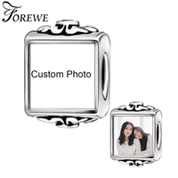 DIY Custom Photo 925 Sterling Silver Square Charms Beads Fit Pandora Bracelet Necklace Original Jewelry Making