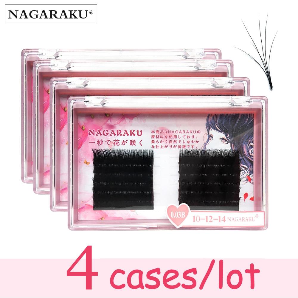 NAGARAKU 4cases new arrived autofans eyelash easy fanning lashes autofloracion fan Russian volume two tone lashes
