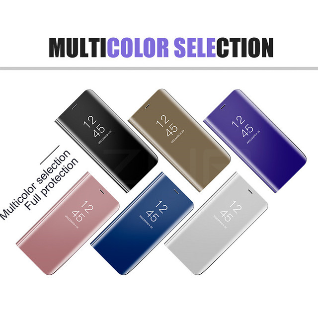 Clear View Mirror Smart Case For Samsung J7 J5 J3 2017 A7 A5 A3 Leather Flip Stand Case For Samsung Galaxy S9 S8 Plus A8 Cover 5