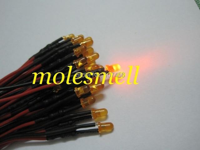 Frete grátis 100 pçs 3mm 12v difuso laranja led conjunto de luz da lâmpada pré wired 3mm 12v dc com fio