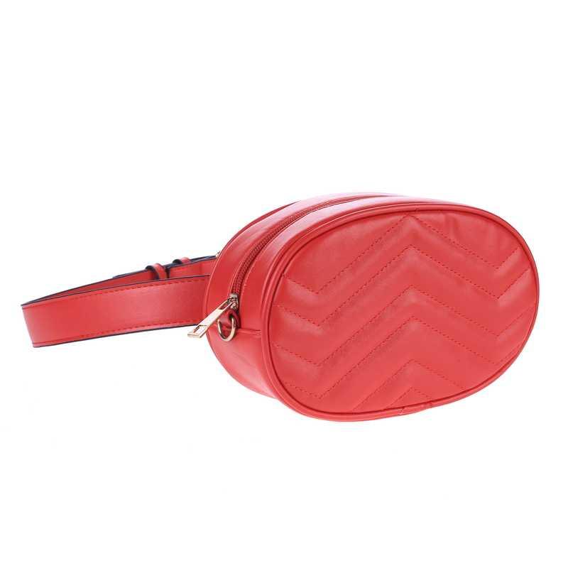 チェストバッグウエストバッグ女性ラウンドベルトバッグ高級ブランド革胸赤、黒 2019 新ファッションハイト品質