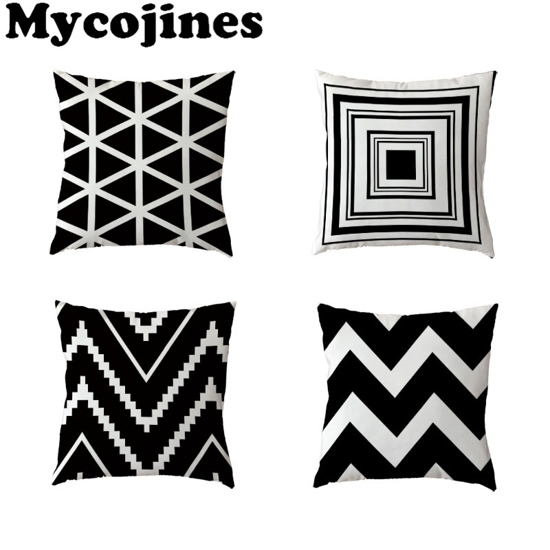 Nordic Style Simple Polyester Peach Skin Black And White Striped Geometric Rectangle Wavy Line Home Sofa Gift Decor Pillow Case