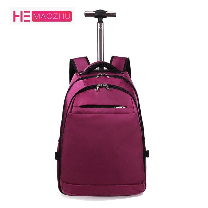 Hommes et femmes sacs à dos couleur unie Oxford tissu embarquement sac de voyage Trolley bagages affaires ordinateur sac à dos valise 20 pouces