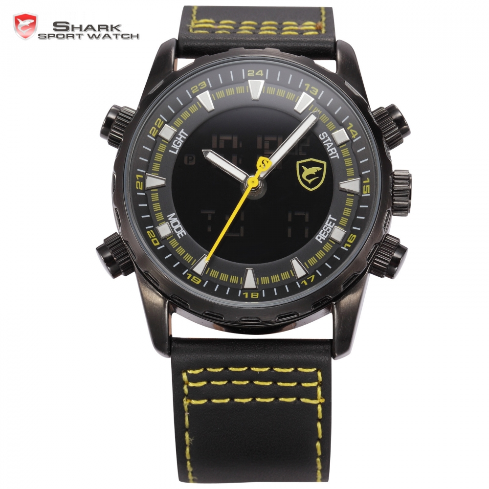 New Shark Sport Watch Men Yellow Luminous Scale Dual Time LCD Display Black Leather Strap Tag Quartz Digital Wrist Clock / SH135 drop shipping gift boys girls students time clock electronic digital lcd wrist sport watch july12