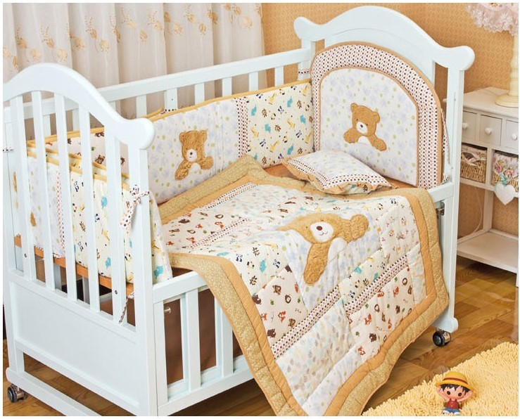 Promotion! 6PCS embroidery Bear cotton baby bedding sets for crib baby pillow (bumper+duvet+bed cover)