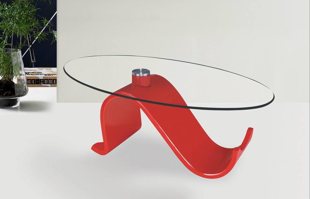 N shaped steel legs oval glass coffee table glass coffee for Red modern coffee table