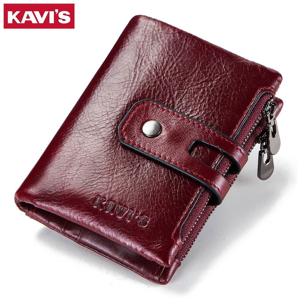 купить KAVIS Dark Red Genuine Leather Women Wallet Female Coin Purse Small Walet Portomonee Lady PORTFOLIO Zipper for Girls Vallet Mini по цене 1000.24 рублей