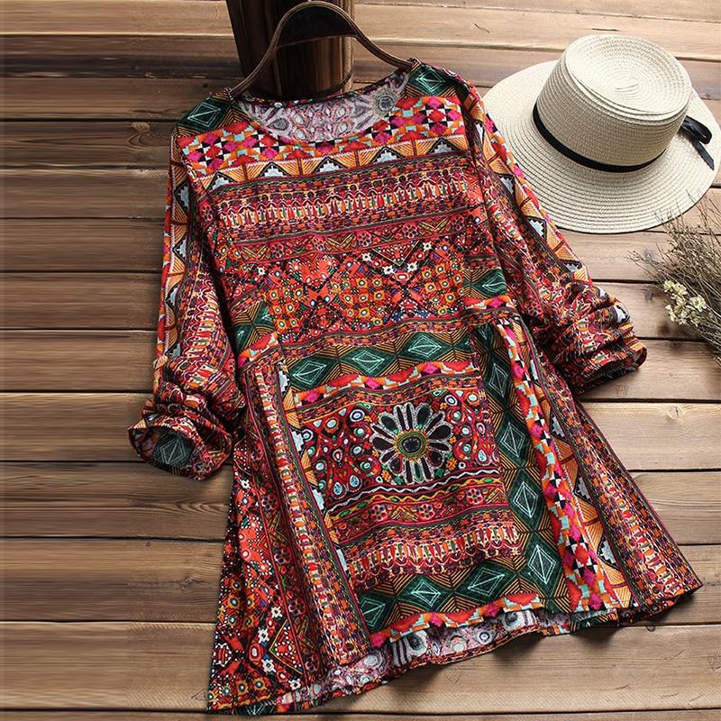 ZANZEA Fashion 2018 Women Blouse Autumn Round Neck Long Sleeve Shirt Loose Casual Vintage Print Blusas Femininas Plus Size Tops 2
