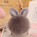 Fur Pom Pom Keychain Fluffy Bunny Rabbit Fur Keychain for Women Bag Charm Rabbit Ears Key Chain Car Key Ring chaveiro Keychains