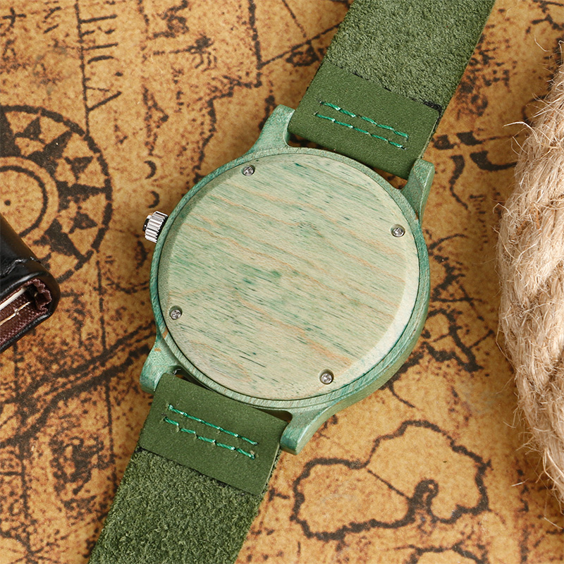 Image 5 - Top Gifts Fashion Green Watch Mens Womens Natural Handmade Bamboo Wooden Quartz Clock Trendy Genuine Leather Relogio Femininofemininofeminino relogio  -