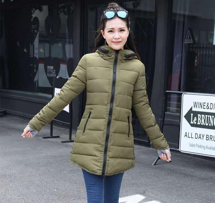 IOW Mark feminina 女性の冬フード付き暖かいコートスリムプラスサイズキャンディーカラー綿パッド入り基本ジャケット女性の中 29