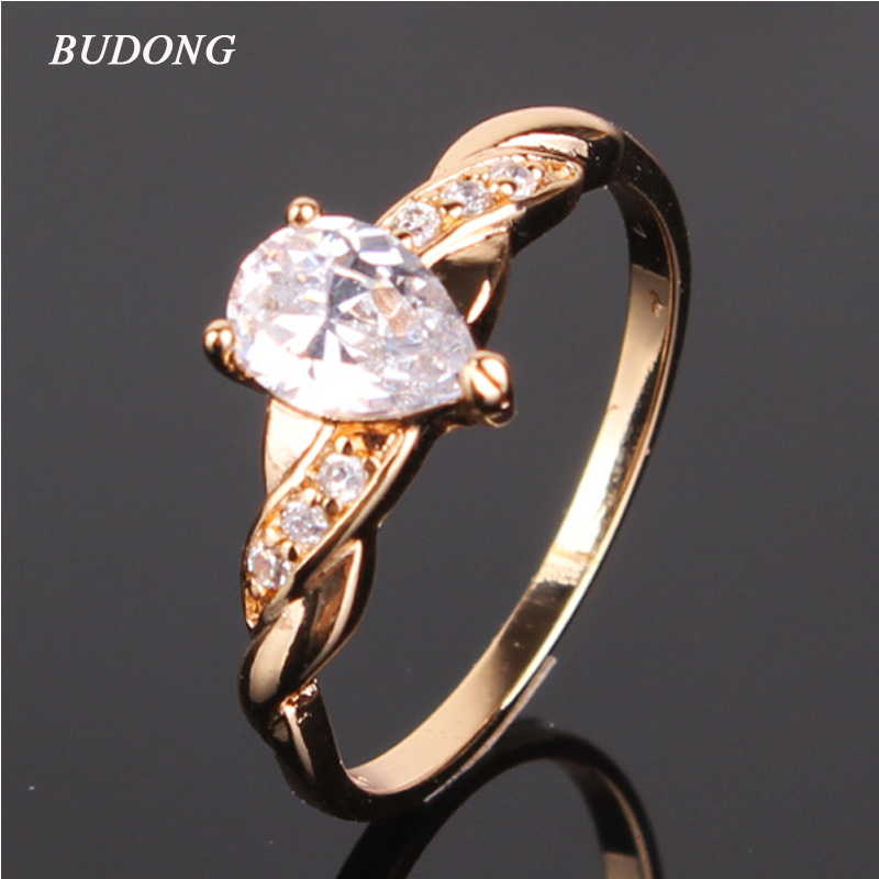 BUDONG Teardrop New Fashion Finger Midi Engagement Rings for Women Wedding Gold-Color Crystal CZ Zirconia Promise Bands XUR030