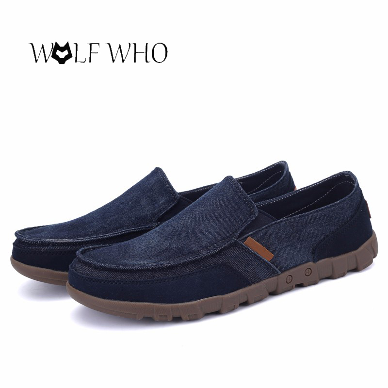 Fashion Washed Denim Casual Doug Peas Shoes Foot Pedal Shoes Lazy Canvas Flats Driving Shoes Zapatos Hombre Plus Size 38-48