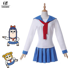 ROLECOS Poputepipikku Kostum Cosplay Popuko Cosplay Pipimi Kostum Anime Pop Team Epic Woman School Uniform Winter 2018