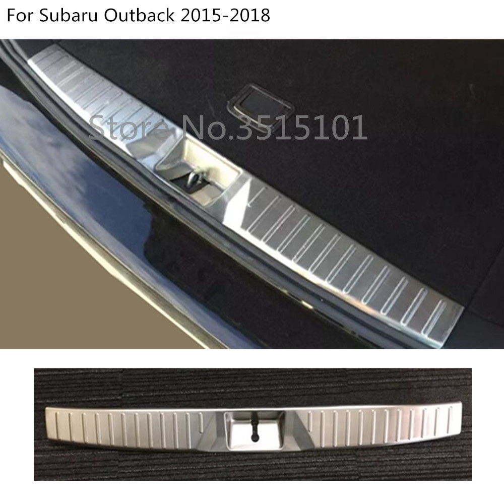 Car internal rear inner bumper trunk trim cover Stainless Steel plate pedal 1pcs For Subaru Outback 2015 2016 2017 2018 for hyundai tucson 2015 2016 2017 2018 car inner inside rear back bumper trim stainless steel scuff sill trunk plate pedal 1pcs