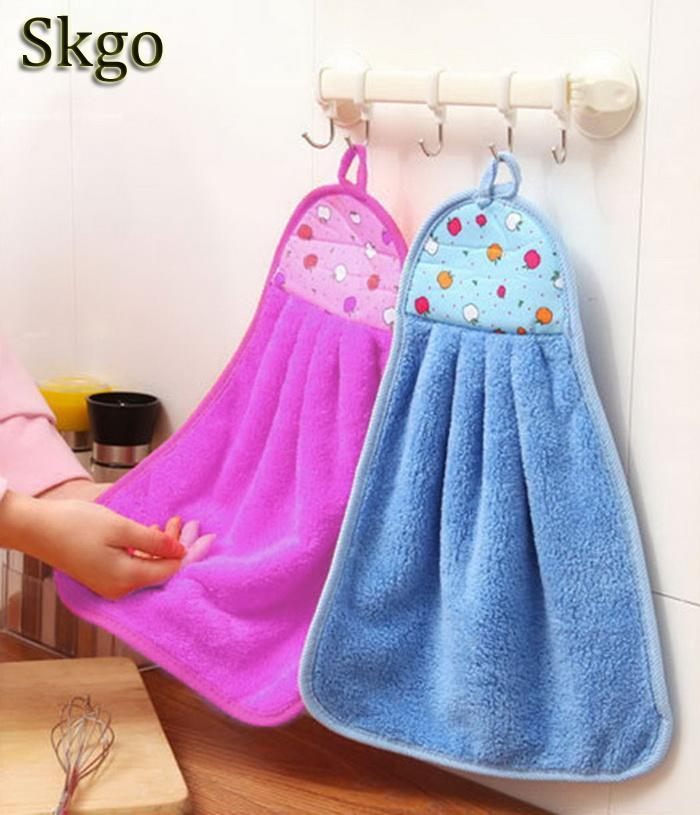 Us 0 94 28 Off Kitchen Towel Pattern Cartoon Hanging Hand Towels Coral Velvet Absorbent Lint Free Cloth Non Stick Oil Dish Washing Cloth In Hand
