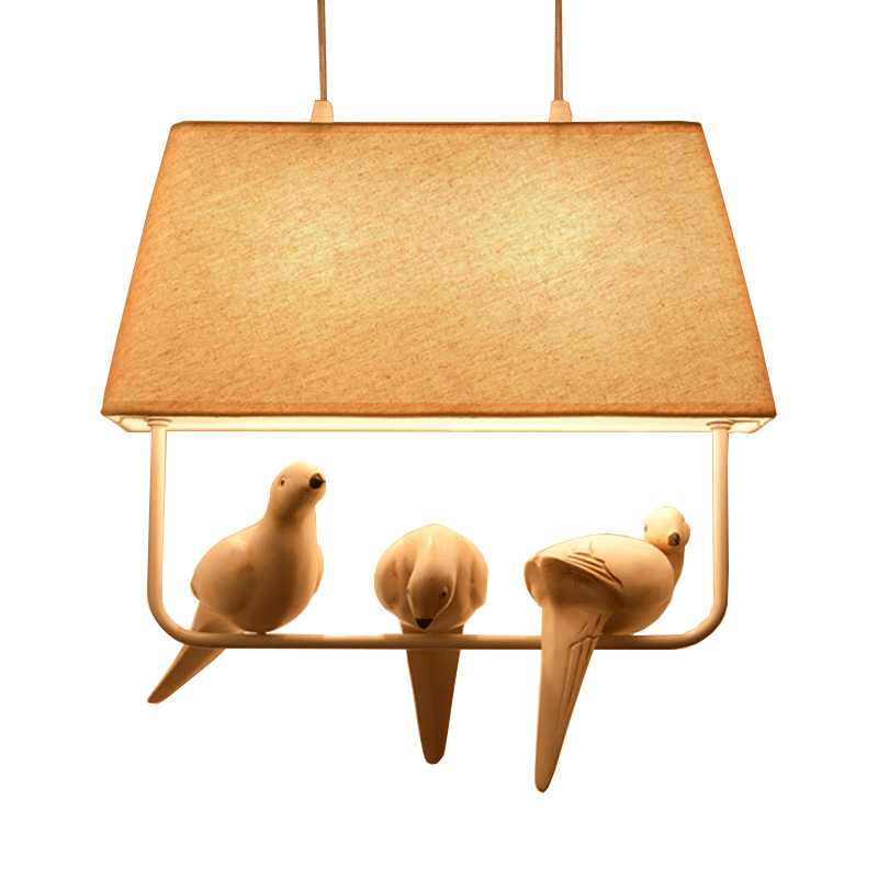 Birds lamp vintage pendant lights Kitchen fixtures resin bird LED bulb <font><b>holder</b></font> fabric lampshade decorate design EMS Free shipping image