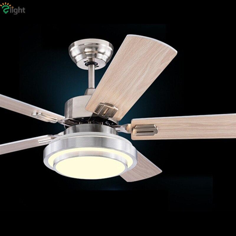 Moderne Bois/Acier Feuille Led Ventilateurs de Plafond Lustre Chrome Salle À Manger Led Plafond Ventilateur Lampe Ventilateur de Plafond Dimmable Éclairage appareils