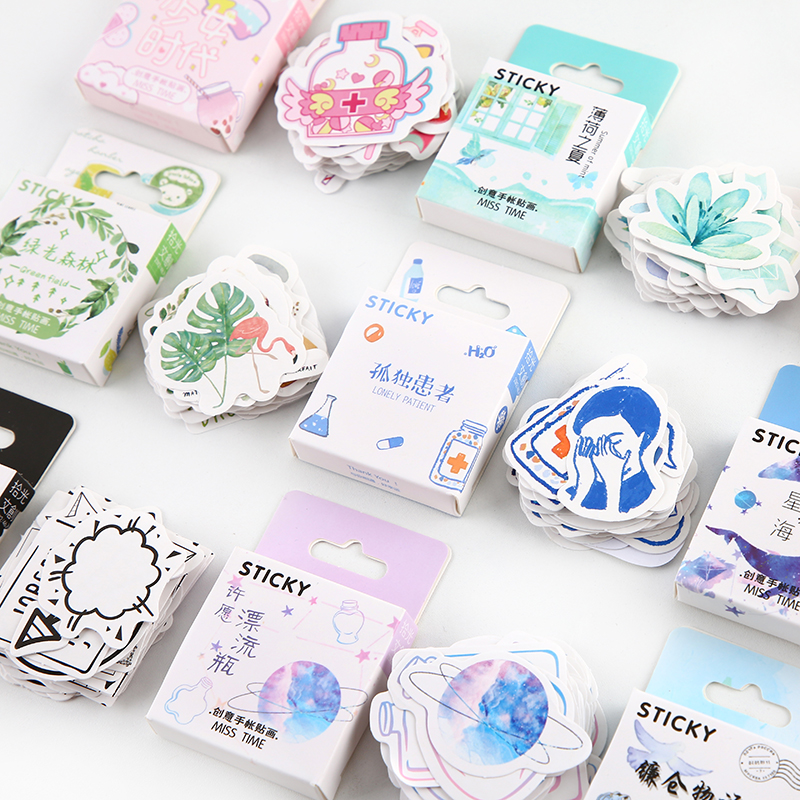 46pcs/pack Green Field Cute Animals Kawaii Paper Stickers Diary Diy Scrapbooking Label Sticker Stationery