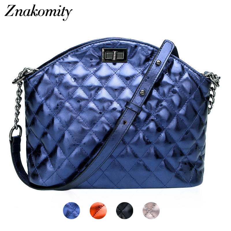 Znakomity Small shell female bag ladies genuine leather Real leather quilted chain shoulder bag Fashion luxury hand bags women znakomity plaid stripe shoulder bag genuine leather quilted bags handbag diamond lattice leather quilted messenger crossbody bag