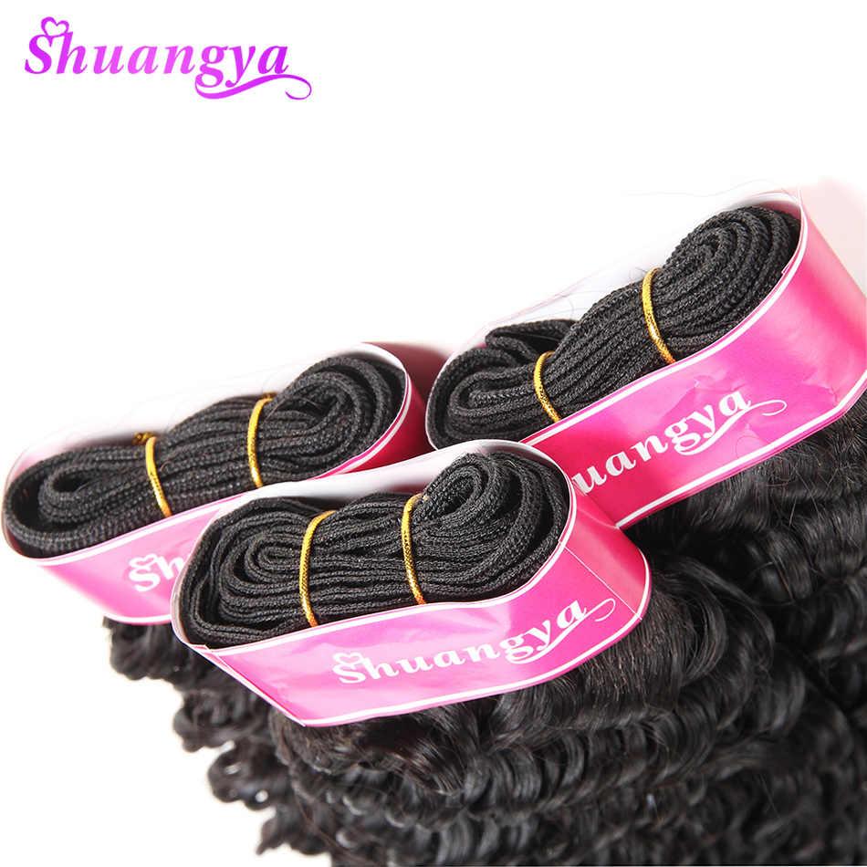 Перуанские пучки волос с закрытием 100% человеческих волос пучки с закрытием Реми глубокие волны пучки с закрытием Бесплатная/средняя часть