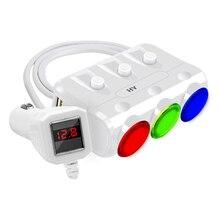 Прикуривателя автомобиля-зарядное устройство 12/24 В 120 Вт розетки адаптер сплиттер 3.1A Dual USB для Автомобильный видеорегистратор Радар-детектор IPhone Tablet PC
