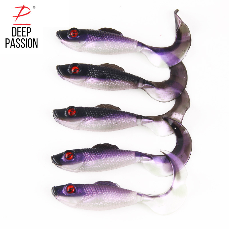 DEEP PASSION 5PC 8cm Silicone Soft Lure Fishing Lure Insect Artificial Bait Carp Fishing Tackle Gear Lure Kit Capuchin Bait Set