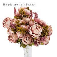 3ช่อ24หัวประดิษฐ์P Eonyผ้าไหมดอกไม้ใบแรกงานแต่งงานตกแต่ง#824