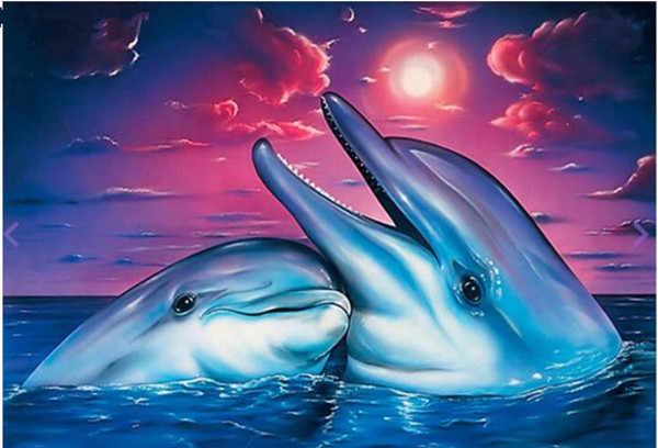 DIY 5D Lukisan Berlian Hewan Laut Dolphin Mosaik Diamond Cross Stitch Diamond Bordir Penuh Rhinestones Hadiah Natal