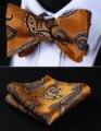 Bolso Quadrado BP818NS Laranja Preto Paisley Homens Gravata Borboleta de Seda Auto Gravata Gravata conjunto lenço