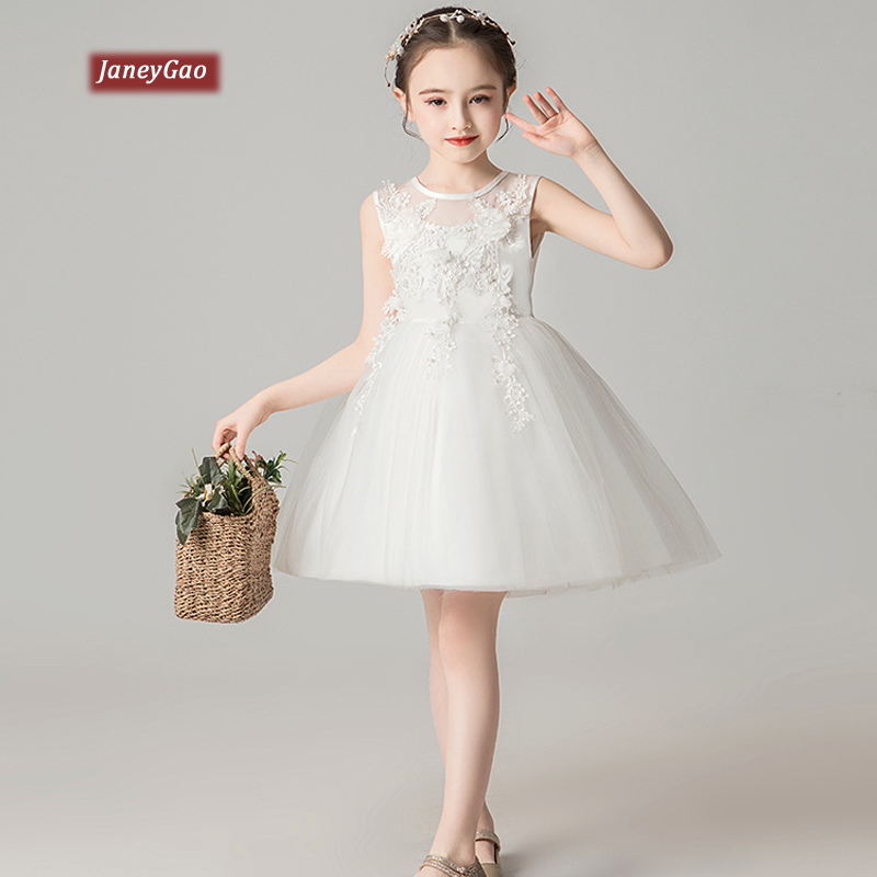 JaneyGao   Flower     Girl     Dresses   For Wedding Party ChildrenTulle   Dress   Formal Princess Pageant First Communion   Dresses   White 2019