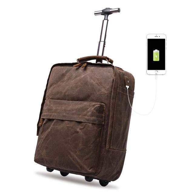 b4ff89cf7ac0 LeTrend 16 inch Retro USB Rolling Luggage Men Business Suitcase Wheels  Canvas Cabin Trolley Multifunctional shoulder