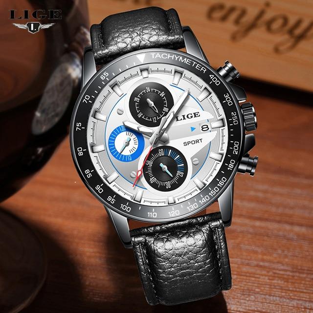 fa730668231 LIGE Homens Relógio Do Esporte Da Moda Relógio de Quartzo Relógios Mens Top  Marca de Luxo Aço Completa Negócios À Prova D  Água Relogio masculino 9835  em ...