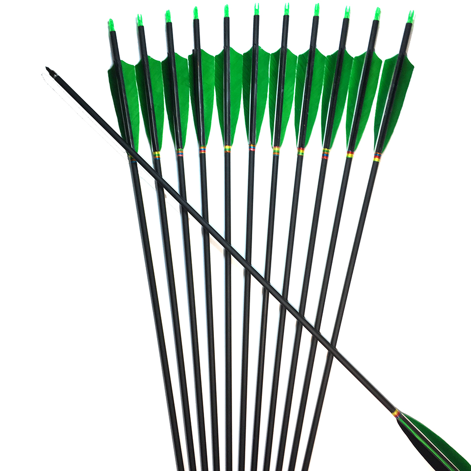 12Pc New 31.5 inches Carbon Arrow Spine 500 With 5''Turkey Feather Real Feather OD 7.6mm for Recurve and Compound Bow Huntting