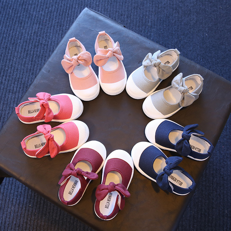 Children Canvas Casual Shoes Kids Lovely Bow Flat Heels Shoes Girls Spring 2019 Princess Solid Color Sneakers For Toddler Girl
