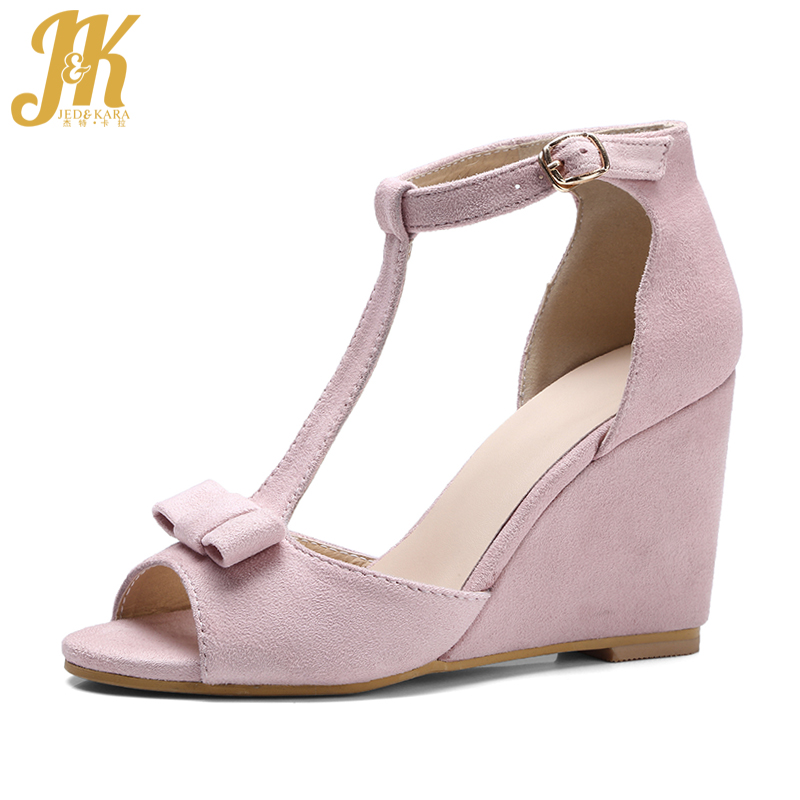 JK Size 34-39 New Arrive Sexy Peep toe Butterfly Knot Women Sandals Fashion T Strap Summer Wedges Sandals High Heels Shoes 2018 summer new arrived strap design wedges women sandals peep toe comfort mid heel sexy lady sandal fashion student casual shoe