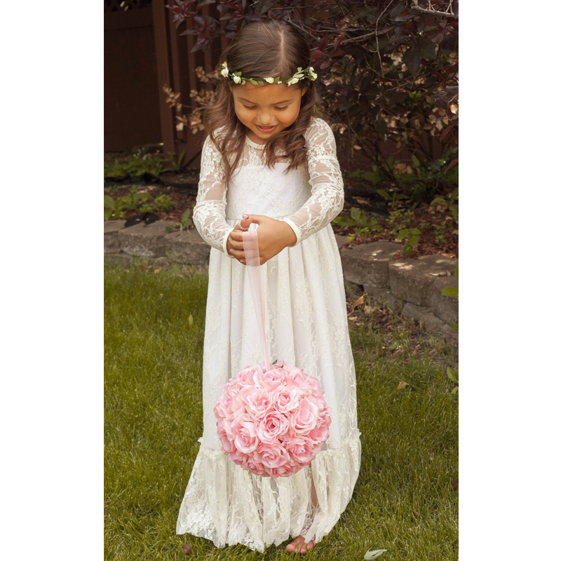 Lakeydra White Lace   Flower     Girl     Dresses   for Weddings Full Sleeve with Bow Zipper Back First Communion   Dresses