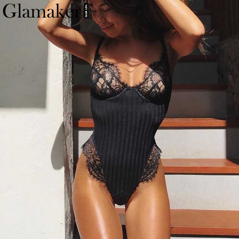 4d3b01d7f779 Detail Feedback Questions about Glamaker White laceeyelash sexy bodysuit  Women transparent mesh knitting playsuit spring v neck body femme jumpsuits  ...