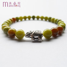 Fahion girl 6MM natural Green Jades stone elephant bracelet & Alloy silver plated elephant Green Jades beads bracelets women(China)