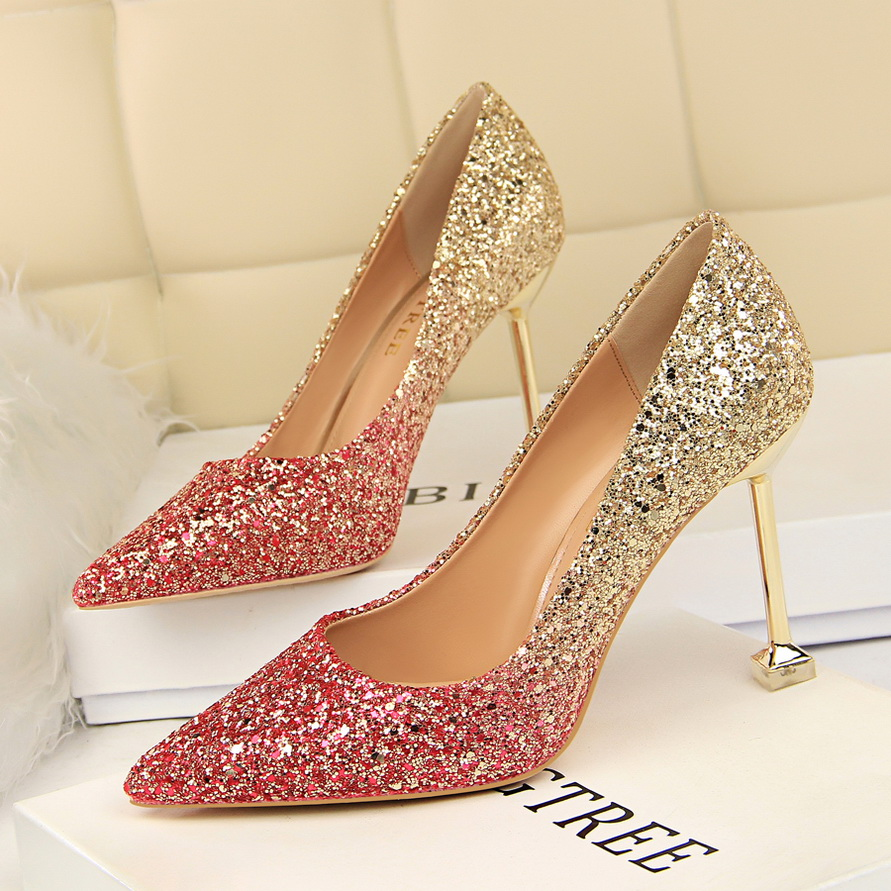 Glitter Sexy High Heels For Women Cheap Prices Rose Gold Pumps Shimmering  Golden Glitter Shoes Pull On Pointed Toe Heels Pumps 97599c9d4e16