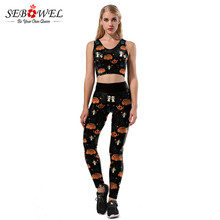 sebowel two piece suit set halloween costumes adult black pumpkin cute costume cosplay tracksuits for party