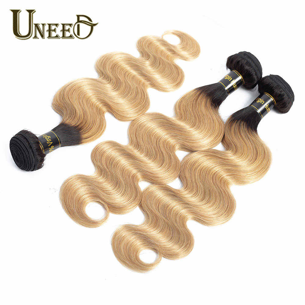 Uneed T1B/27 Ombre Blond Peruvian Body Wave Bundles 1/3/4 Pcs No-Remy Human Hair Weave Bundles Ombre Peruvian Hair Extensions