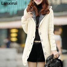 Женский зимний кашемировый кардиган с капюшоном и флисовой подкладкой, вязаный свитер, пальто для женщин, толстый теплый длинный рукав, вязанная длинная куртка, топы