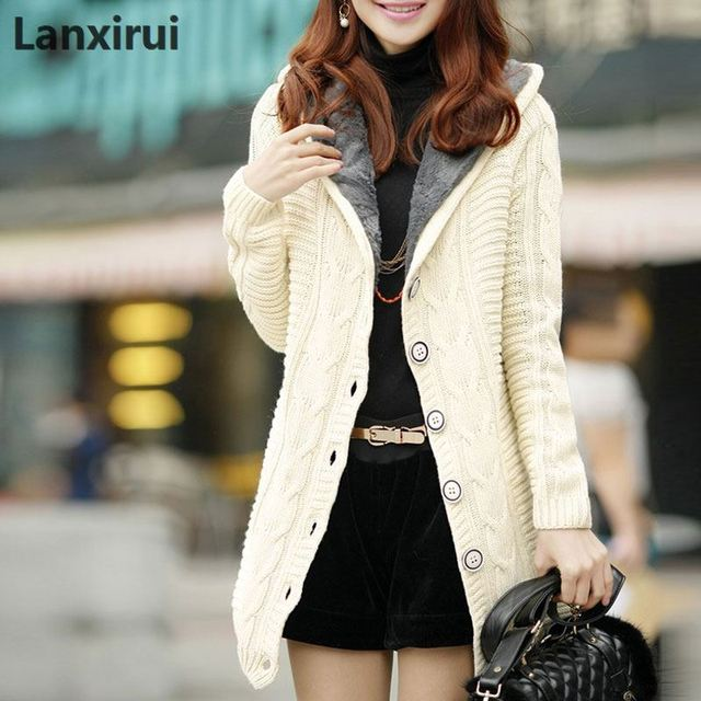 Mujer invierno con capucha forro de lana cárdigan de Cachemira suéter de  punto abrigo grueso cálido 34688caeed16